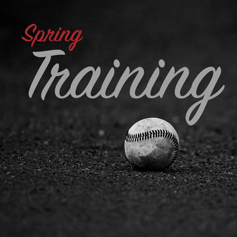 "Baseball on dark gravel ground with ""Spring Training"" text above"